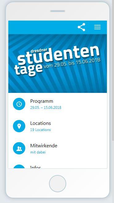 Smartphone Vorschau der App