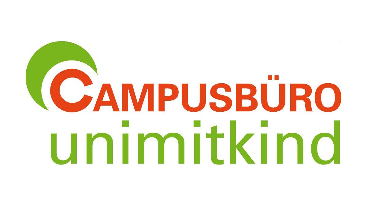Das grün-rote Logo des Campusbüro, Uni mit Kind.