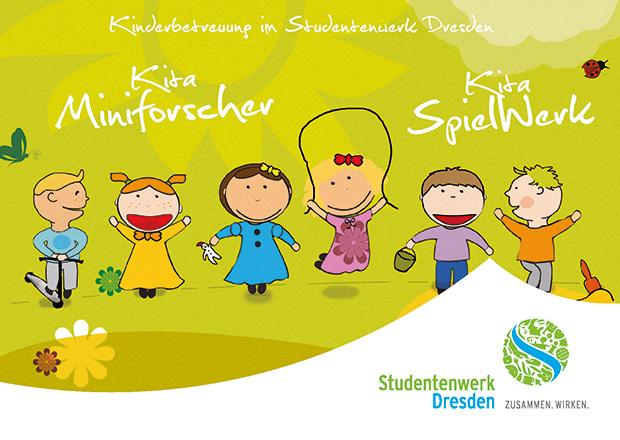 Eine grün-weiße Postkarte mit gezeichneten Kinderfiguren