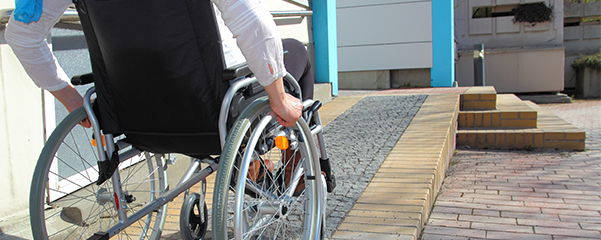 a wheelchair user on a ramp